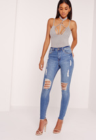 Missguided Faux Suede Harness Ring Detail Bodysuit Grey