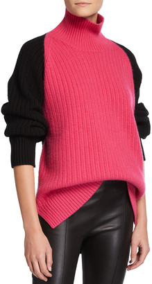 Rosetta Getty Inverted Cable-Knit Cashmere Turtleneck Sweater