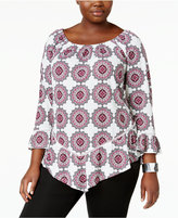 NY Collection Plus Size Peasant Off-The-Shoulder Top