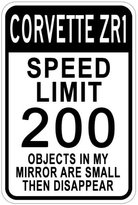 CHEVY CORVETTE ZR1 Speed Limit Sign - 12 x 18 Inches