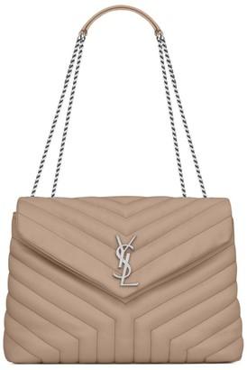 Saint Laurent Leather Quilted Loulou Shoulder Bag
