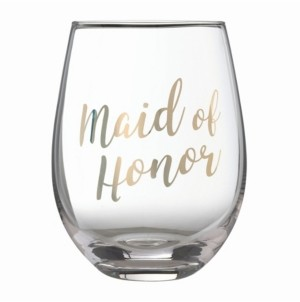 """Lillian Rose Gold """"Maid of Honor"""" Stemless Wine Glass"""