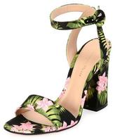 Gianvito Rossi Floral Ankle-Wrap 100mm Sandal, Pink/Green