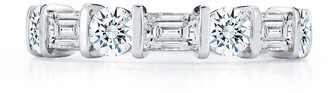 Nm Diamond Collection Platinum Band Ring with Round/Baguette Diamonds
