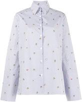 Mira Mikati Pinstripe Shirt with Minion Embroidery