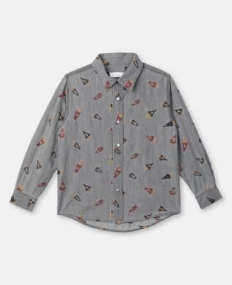 Stella McCartney Rockets Embroidery Chambray Shirt, Men's