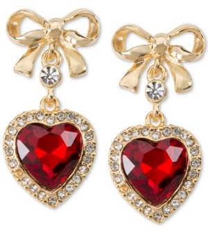 Charter Club Holiday Lane Gold-Tone Bow & Crystal Heart Drop Earrings, Created for Macy's