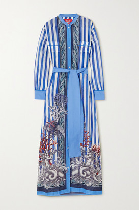 F.R.S For Restless Sleepers Galene Belted Printed Cotton And Silk-blend Maxi Dress - Blue