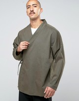 Asos Denim Kimono Shirt With Tie Up Front In Khaki