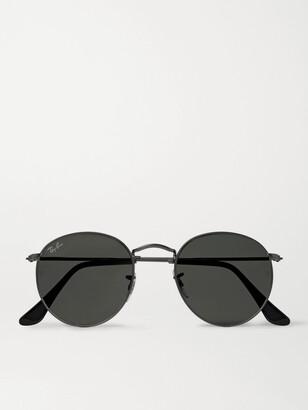 Ray-Ban Round-Frame Gunmetal-Tone Sunglasses