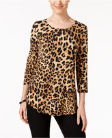 JM Collection Three-Quarter-Sleeve Cheetah-Print Top, Only at Macy's