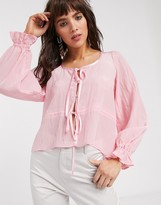 Thumbnail for your product : Lost Ink blouse with tie front