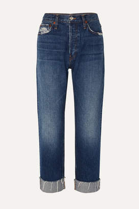 RE/DONE 90s Loose Distressed Low-rise Straight-leg Jeans - Mid denim