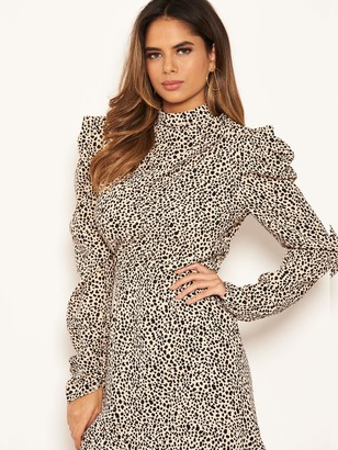 AX Paris Spotty Puff Sleeve Dress - Stone