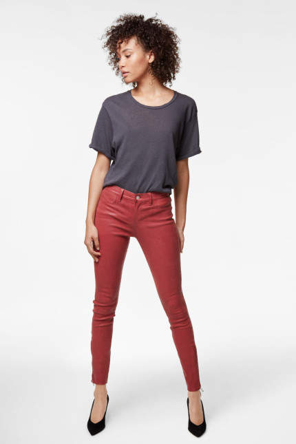 J Brand L8001 Mid-Rise Super-Skinny Leather Legging In Begonia