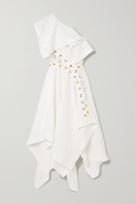 Alexander McQueen One-shoulder Eyelet-embellished Ruffled Linen-poplin Gown - White