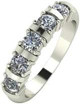 Moissanite 9 Carat White Gold, 1 Carat Bar Set 5 Stone Eternity Ring