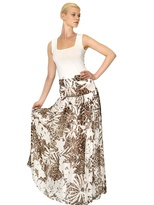 Blumarine Printed Silk Chiffon Long Skirt