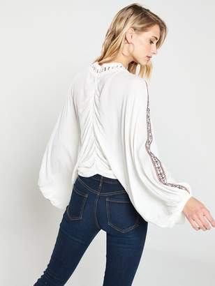 Very Eyelet Front Oversized Blouse - White