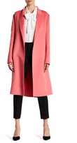 Oscar de la Renta Notch Collar Belted Wool Blend Coat