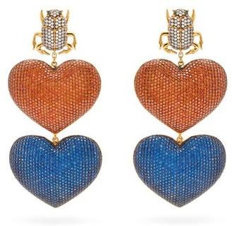 BEGÜM KHAN Scarab Mon Amour Gold-plated Clip Earrings - Multi