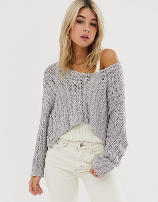 Free People Beach Comber fluffy knit jumper-Grey