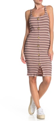 Cotton On Lola Striped Button Front Ribbed Dress