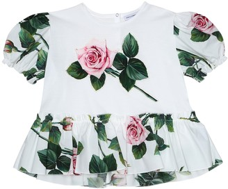 Dolce & Gabbana Kids Appliqued floral cotton T-shirt