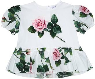 Dolce & Gabbana Appliqued floral cotton T-shirt