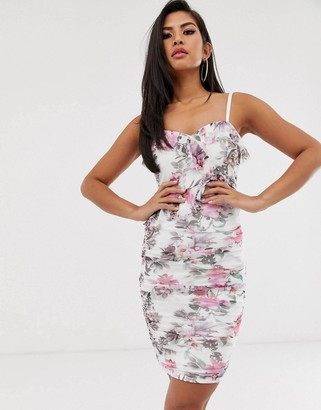 Lipsy floral print cami dress-White