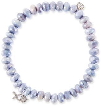 Sydney Evan 14k White Gold Diamond XO & Lavender Moonstone Bracelet