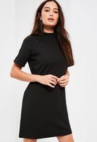 Missguided Petite black scuba t-shirt dress