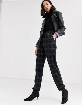 NATIVE YOUTH relaxed tracksuit bottoms in check co-ord-Black