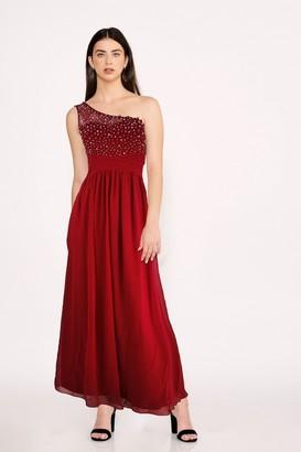 Little Mistress Bridesmaid Luanna Red Embellished One-Shoulder Maxi Dress
