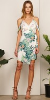 Adelyn Rae Printed Cold Shoulder Woven Priscilla Day Dress