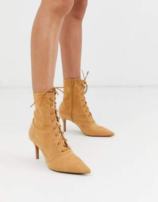 Asos Design DESIGN Respect lace up kitten heel boots in sand-Beige