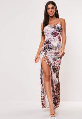 Missguided Pink Floral Leopard Print Cowl Neck Maxi Dress