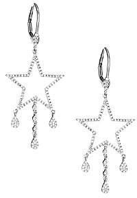 Meira T Women's 14K White Gold & Diamond Star Drop Earrings
