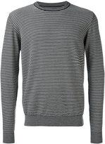 Maison Margiela striped elbow patch jumper - men - Cotton/Calf Leather/Wool - M