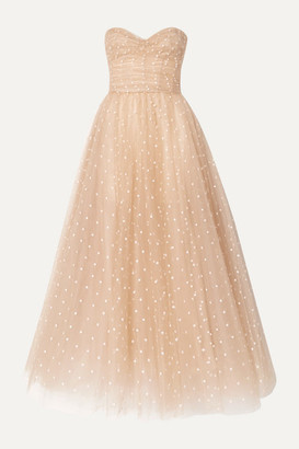 Monique Lhuillier Embroidered Tulle Gown - Beige