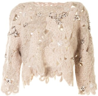 Brunello Cucinelli Lace-Pattern Embellished Jumper