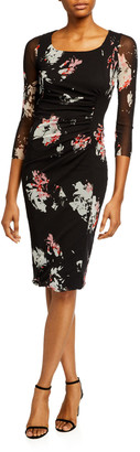 Fuzzi Aquarello Small Floral 3/4-Sleeve Fitted Dress