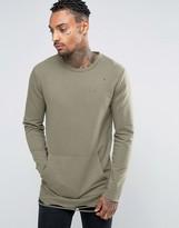 Asos Longline Muscle Sweatshirt With Distressing & Kangaroo Pocket