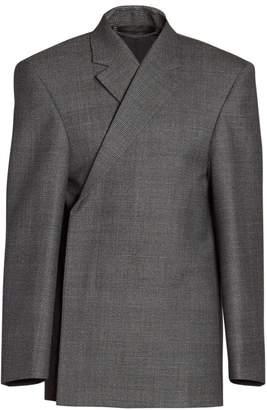 Balenciaga Check Virgin Wool Structure Jacket