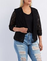 Charlotte Russe Plus Size Floral Lace Collarless Blazer