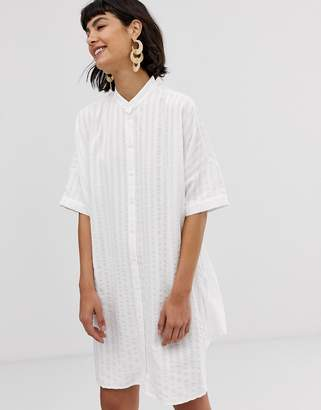 And other stories & collarless shirt dress in white