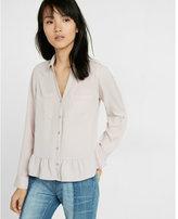 Express original fit ruffle hem portofino shirt