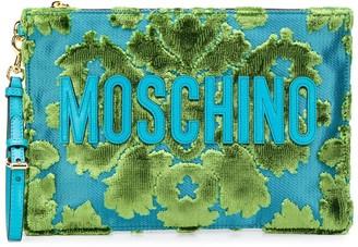 Moschino Fleur-De-Lis Pattern Clutch Bag