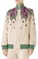 Gucci Long-Sleeve Sequin Embroidered Bomber Jacket w/ Jewel Trim