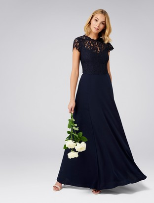 Forever New Macie Cap Sleeve Lace Bodice Gown - Navy - 10